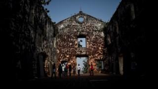 A Igreja de São Paulo na cidade portuária de Malaca, Malásia, construída no século XVI durante a administração portuguesa do território
