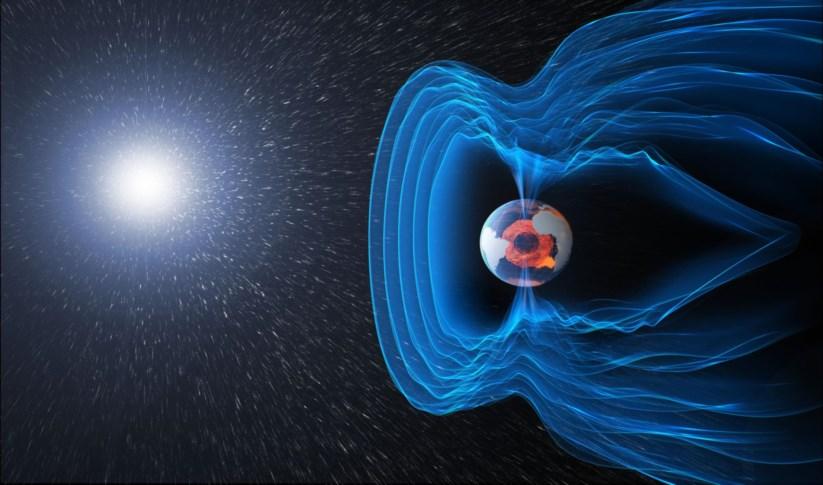 Ilustração do campo magnético da Terra, um escudo que nos protege da radiação cósmica e das partículas electricamente carregadas emitidas pelo Sol
