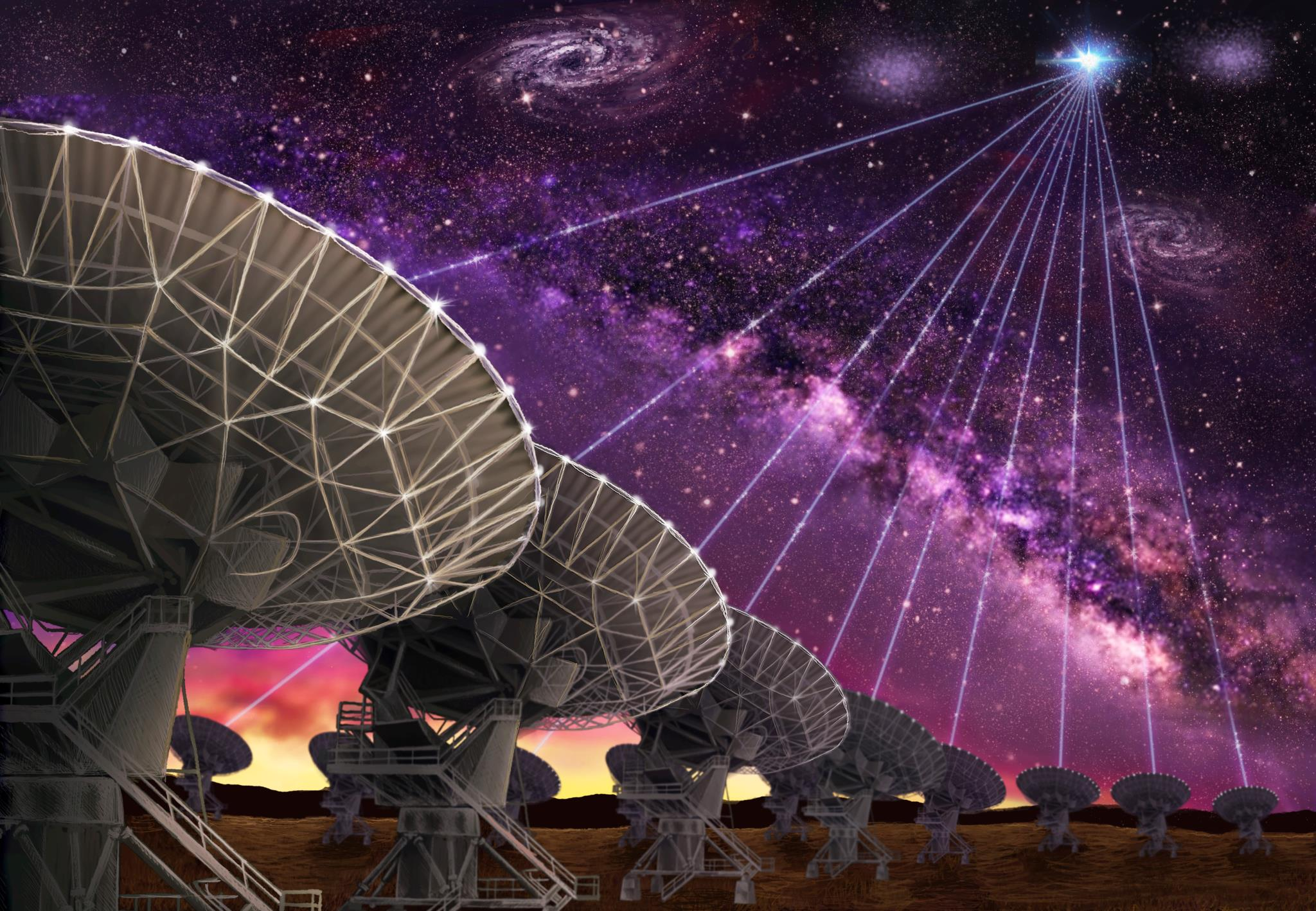 O radiotelescópio Very Large Array no Novo México (EUA)