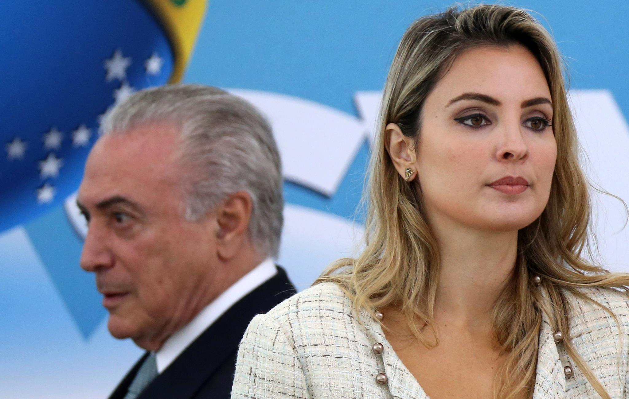 Michel e Marcela Temer numa cerimónia no Palácio do Planalto em Dezembro