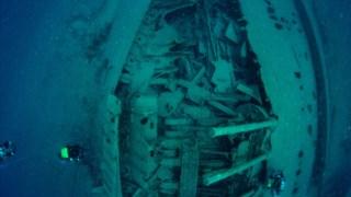 O navio <i>Gallia</i>, afundado em 1917 por um submerino alemão ao largo de Inglaterra