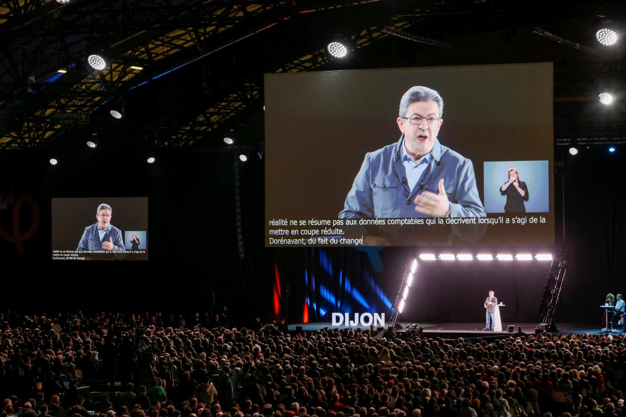 Mélenchon num comício em Dijon
