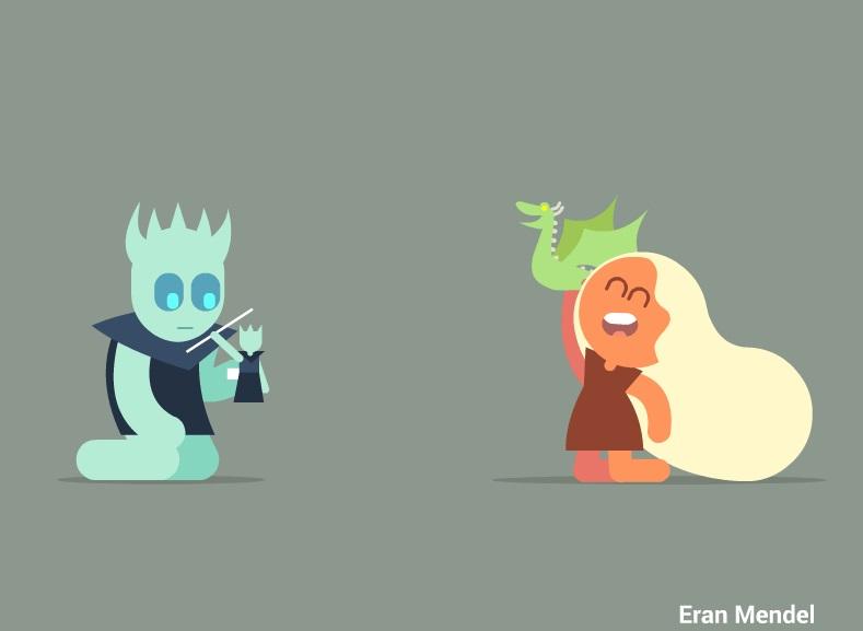 Eran Mendel tenta fazer animações simples e engraçadas que retratem cada episódio da série baseada na saga de George R. R. Martin