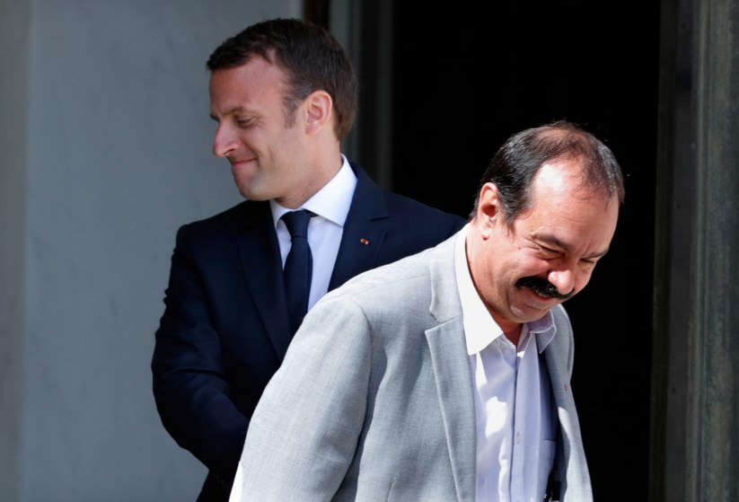 Emmanuel Macron e Philippe Martinez, o líder da CGT