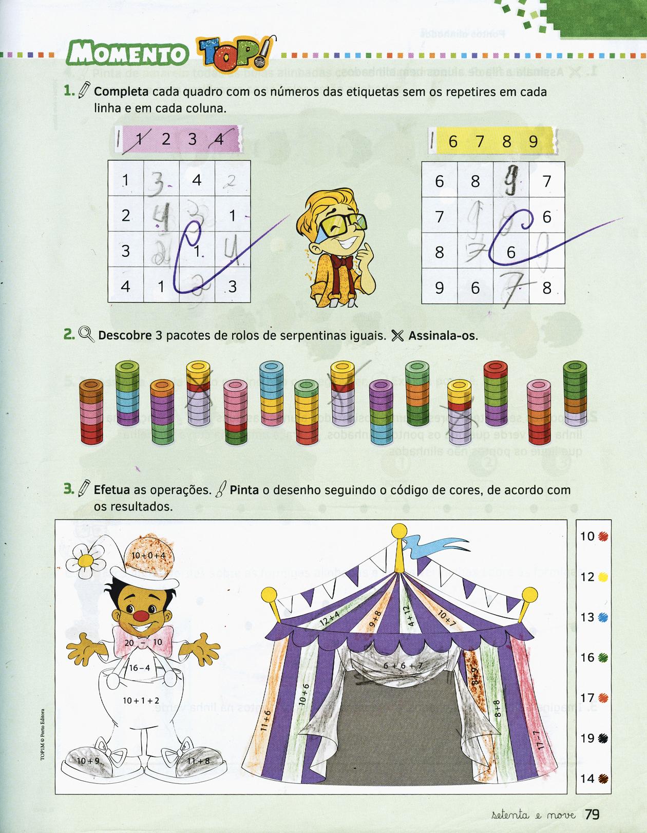 Páginas de manual do 1.º ano usado no ano passado e este ano redistribuído numa escola em Lisboa