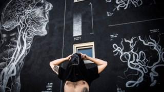 The Empty Belly à frente da sua parede em Estarreja