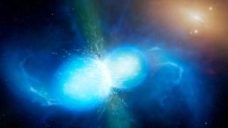 Ilustração artística da colisão de duas estrelas de neutrões