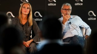 Cláudia Goya, presidente da PT, e Michel Combes, presidente da Altice