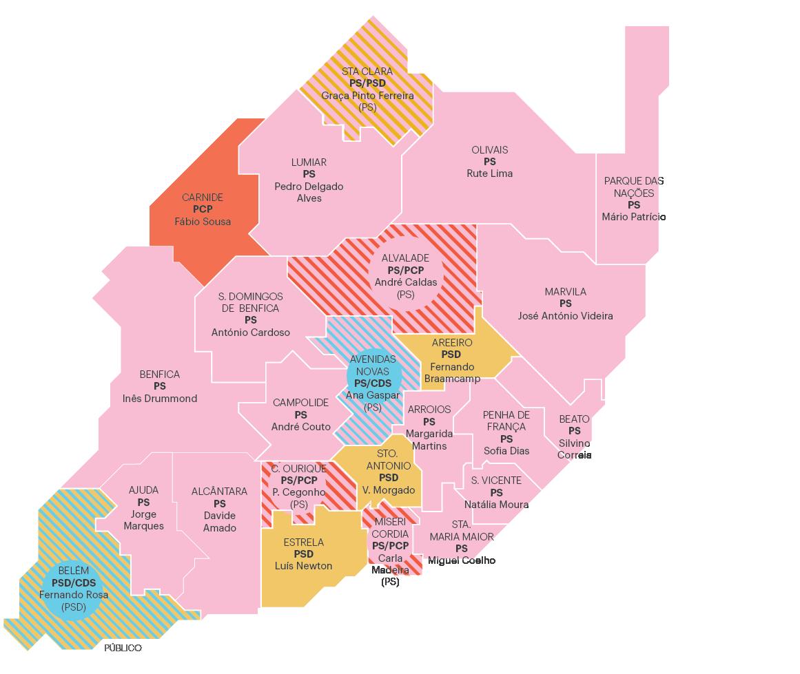 mapa lisboa freguesias É este o novo mapa político das freguesias de Lisboa | Autárquicas  mapa lisboa freguesias
