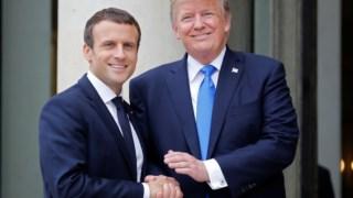 Emmanuel Macron com Donald Trump