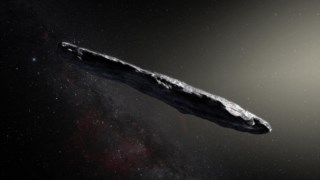 Ilustração do objecto interestelar Oumuamua