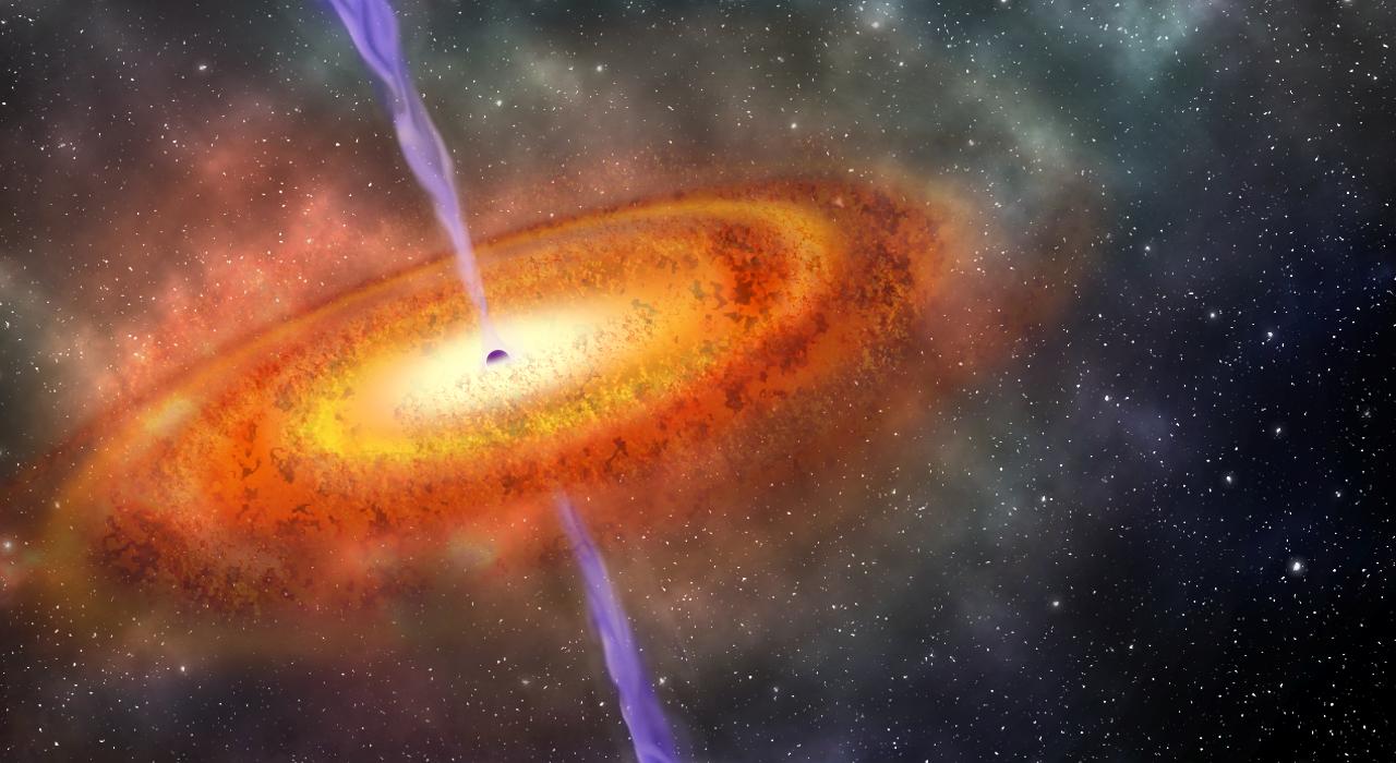Ilustração artística do buraco negro supermaciço mais distante alguma vez encontrado