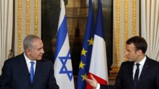 """Macron disse a Netanyahu que a posição assumida pelos EUA é uma """"ameaça à paz"""""""