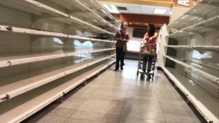 Prateleiras vazias nos supermercados venezuelanos