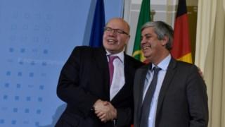 """Mário Centeno e o seu homólogo alemão, Peter Altmaier: """"Solidariedade e estabilidade devem estar de mãos dadas"""" na zona euro, sublinhou Altmaier"""
