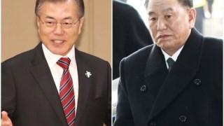 O Presidente sul-coreano com o general Kim Yong-chol