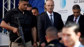 primeiro-ministro palestiniano, Rami Hamdallah, saiu ileso e foi, como planeado, inaugurar a estação de tratamento de águas