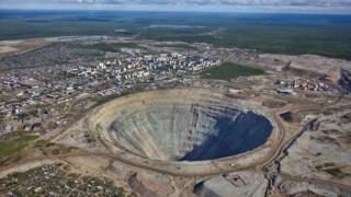 A região de Iacútia é conhecida pela indústria de mineração de diamantes. Na imagem, a mina Mir