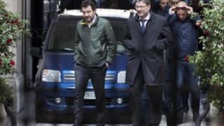 Salvini na chegada ao encontro da coligação de direita, no centro de Roma