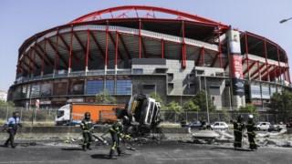 O camião despistou-se em frente ao Estádio da Luz, no sentido Benfica-Aeroporto