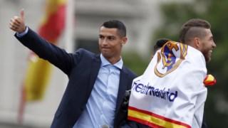 Cristiano Ronaldo a celebrar a vitória da Liga dos Campeões