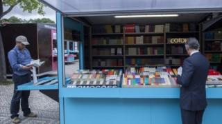 O stand da Cotovia numa das feiras do livro de Lisboa