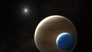 Ilustração sobre a lua gasosa que orbitará o exoplaneta Kepler-1625b