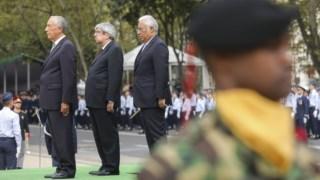rcelo, Costa e Ferr Rodrigues no desfile das Forças Armadas do último domingo