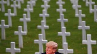 Donald Trump visitou um outro cemitério, no domingo