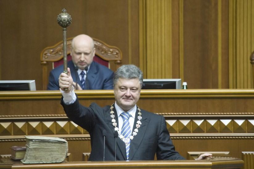 Poroshenko quando tomou posse, em Junho de 2014