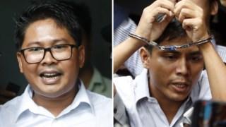 Wa Lone (à esquerda) e Kyaw Soe Oo (direita) cumprem pena de sete anos de prisão