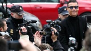 Ronaldo na chegada ao tribunal de Madrid na segunda-feira