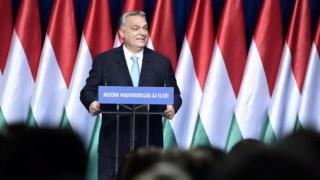 Viktor Orbán durante o discurso anual sobre o estado da nação em Budapeste