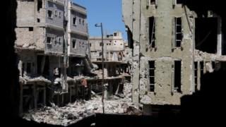A destruição no centro de Deraa