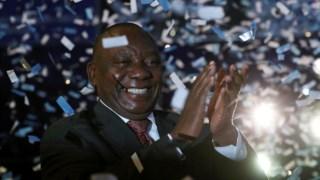 O Presidente da África do Sul, Cyril Ramaphosa, durante o anúncio da vitória do ANC em Pretória