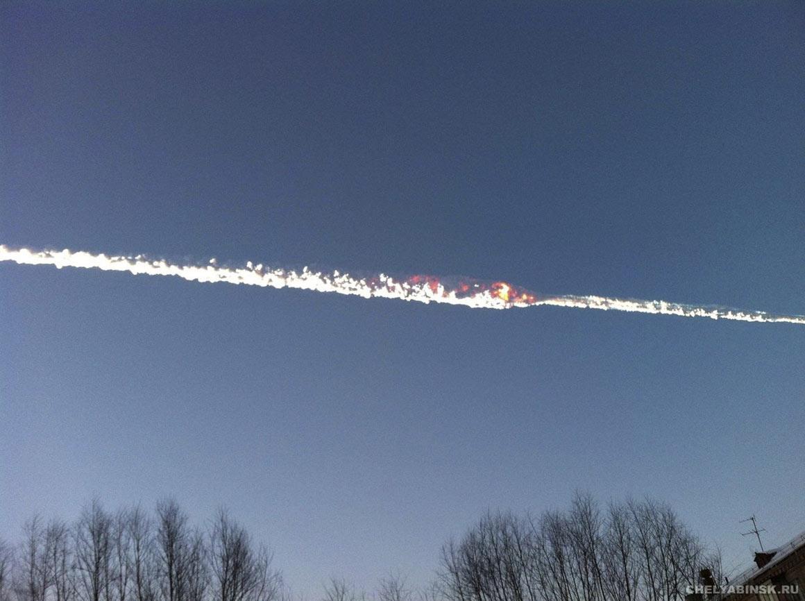 O rasto do meteoro na Rússia