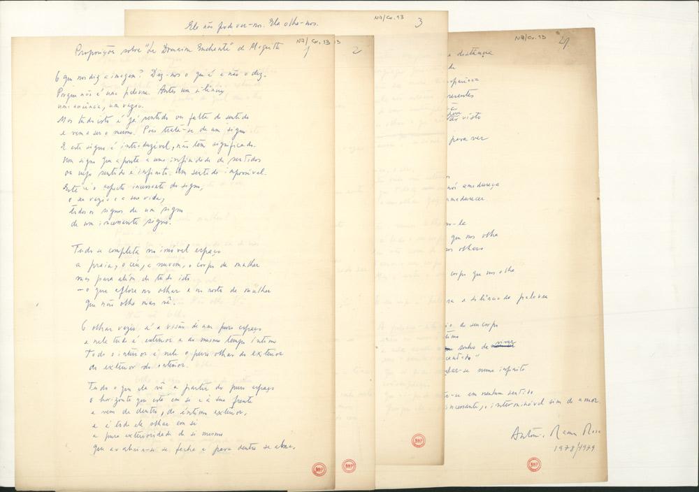 Manuscrito do poema Proposições sobre 'Le Domaine Enchanté' de Magritte, que foi recolhido no livro O Centro na Distância (Arcádia, 1981) depois de ter tido publicação autónoma, com o título Le Domaine Enchanté, no número inaugural da colecção de plaquettes Ocupação do Espaço (O Oiro do Dia, 1980).
