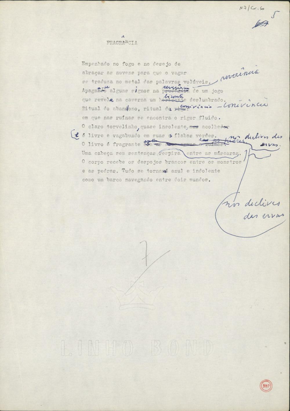"""Dactiloscrito, com correcções manuscritas, do terceiro poema do livro Facilidade do Ar  (1990). As principais correcções aqui feitas à mão parecem ter sido todas adoptadas na versão publicada, incluindo a curiosa troca de """"horizonte"""" por """"bisonte"""", no quinto verso."""