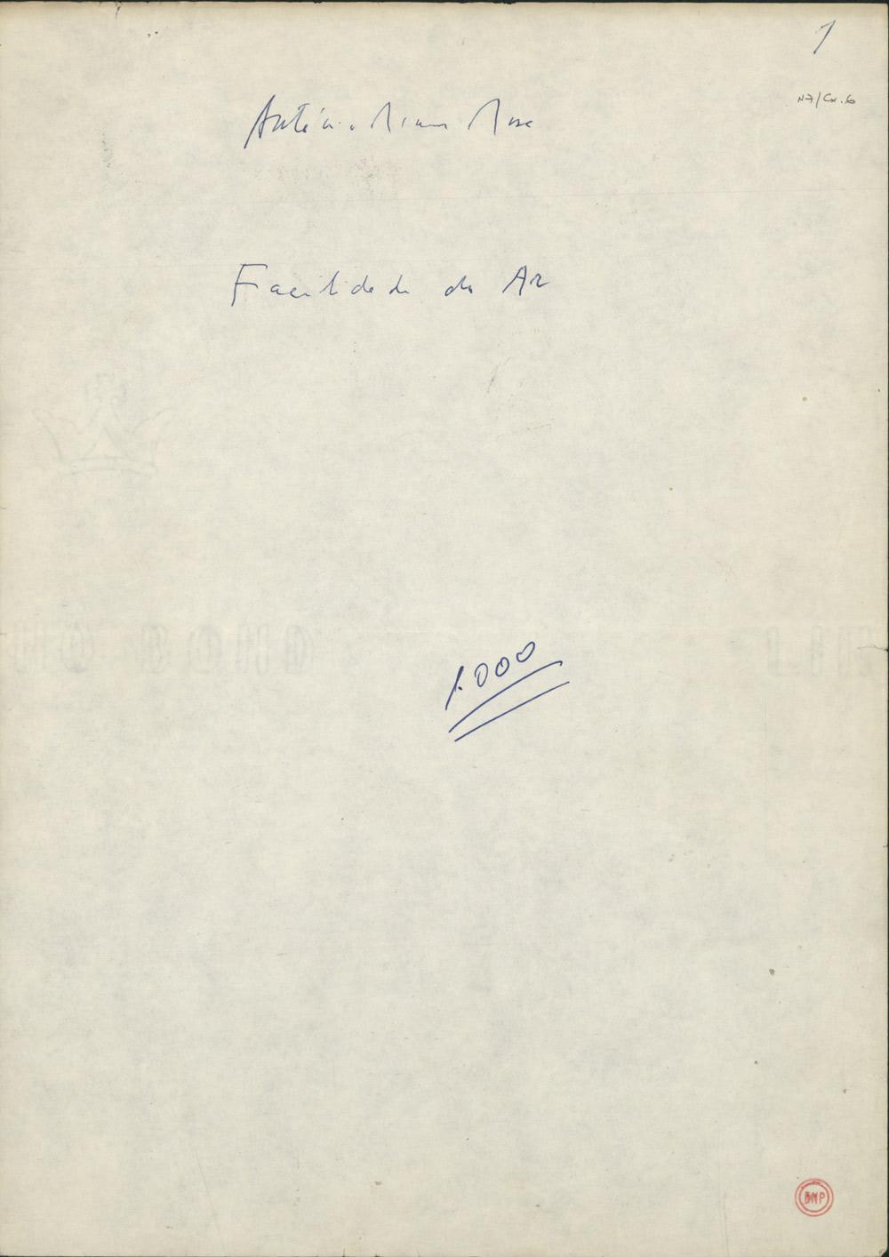 Presumível folha de rosto (manuscrita) do dactiloscrito do livro Facilidade do Ar, publicado pela Caminho em 1990.