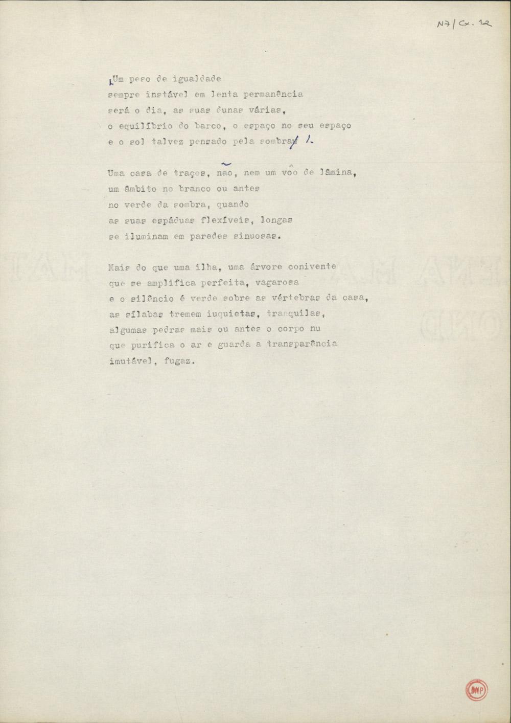 Dactiloscrito do primeiro poema do ciclo Não Sei de Onde Vem o Vento, do livro Três (& etc, 1995).