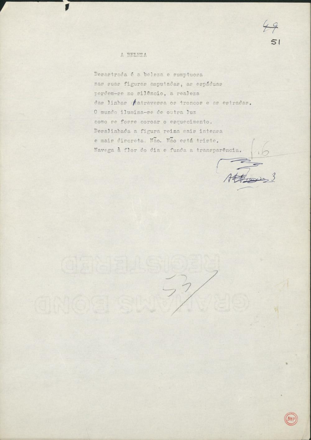 Dactiloscrito de outro poema do livro Facilidade do Ar (1990), este apenas com a correcção manuscrita de uma gralha.