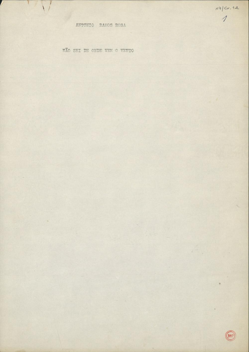 Folha de rosto do dactiloscrito da primeira das três partes que compõem o livro Três, publicado em 1995 na editora & etc.