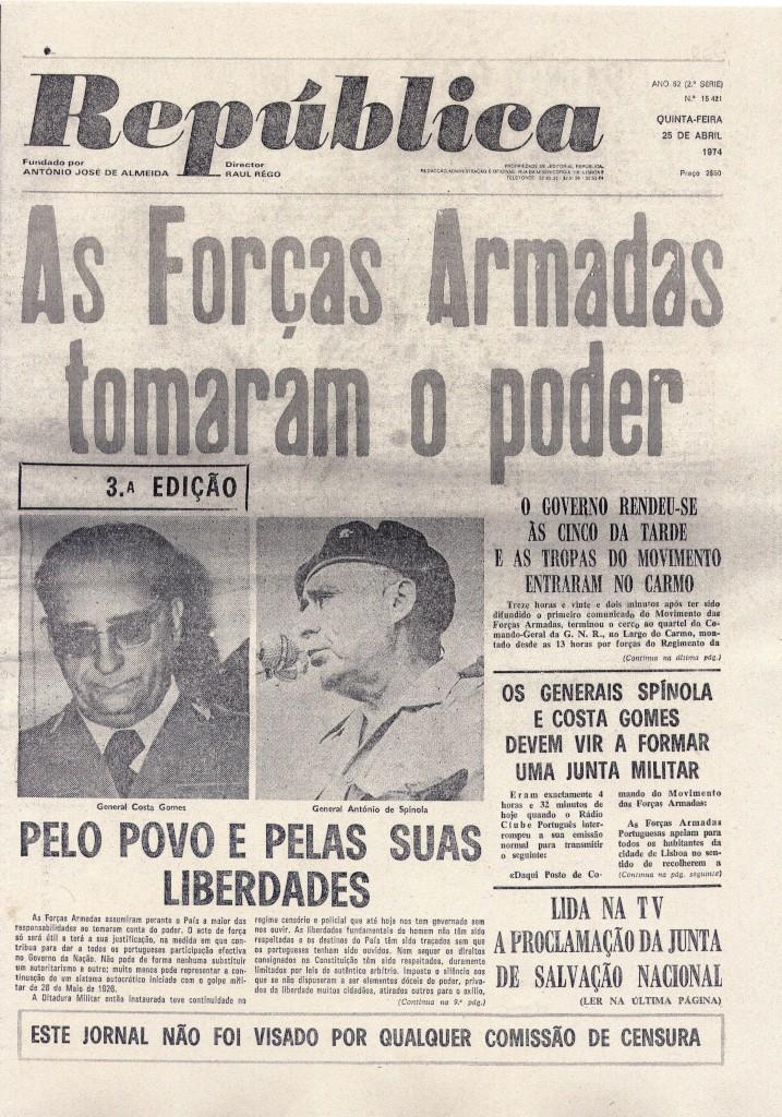 Capas de jornais de 25 de Abril a 2 de Maio de 1974  2dca3bbcc9e03