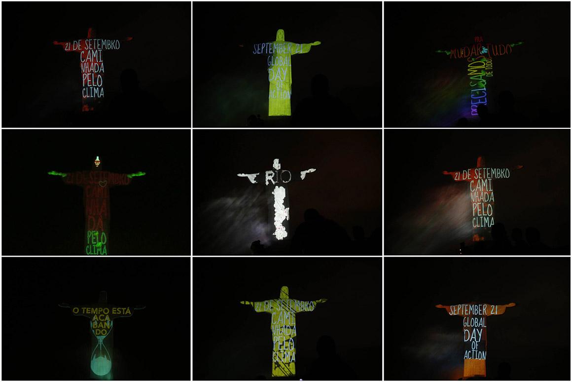 Cristo Redentor iluminado com diferentes mensagens para uma mobilização global sobre o clima, Rio de Janeiro, Brasil