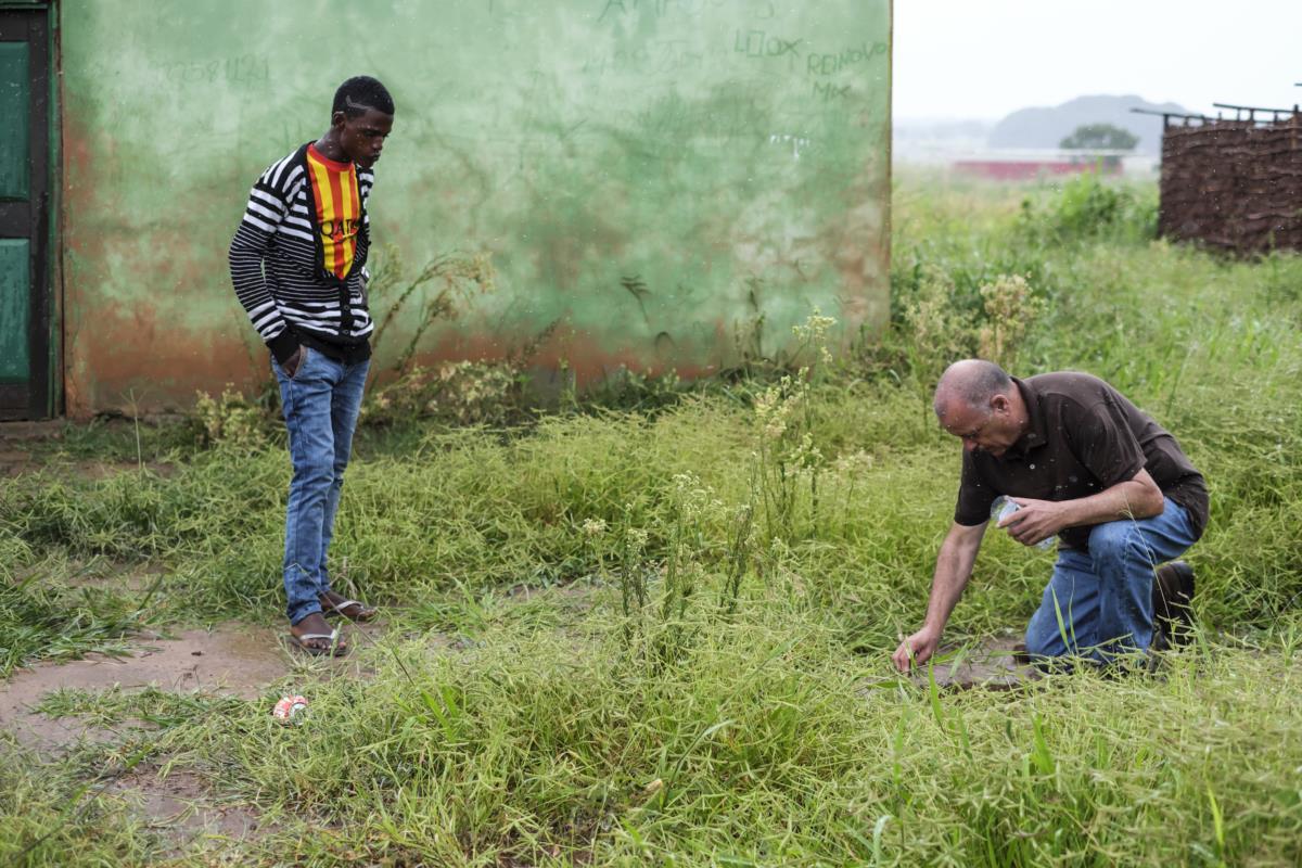 O ex-furriel mostra ao neto o sítio onde ficava a casa onde viveu com a angolana Esperança
