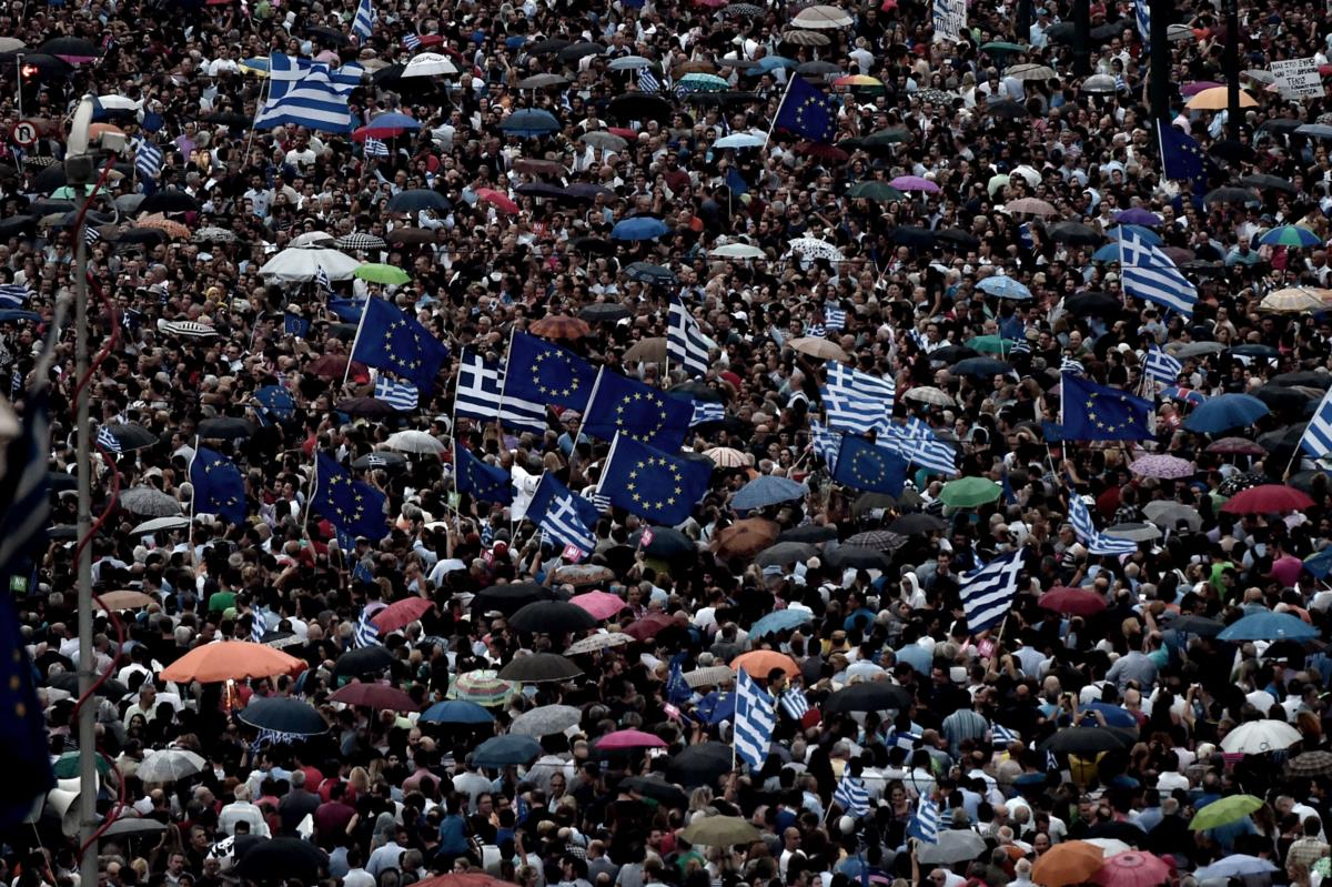 Manifestação pró-União Europeia em Atenas