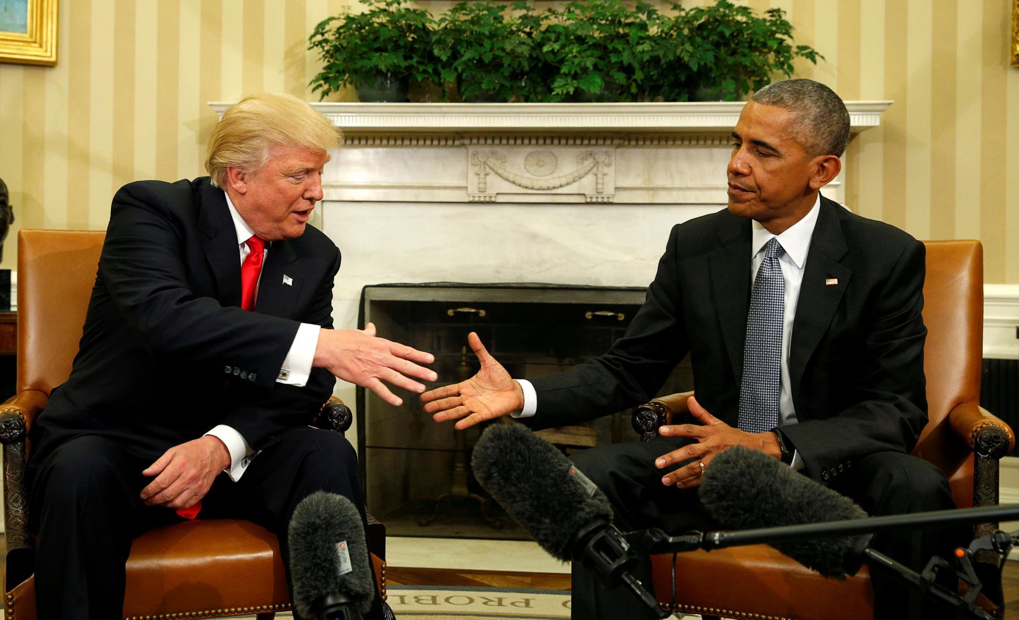 Após a eleição em Novembro de 2016, Barack Obama recebeu Donald Trump na Casa Branca e pediu união ao povo americano