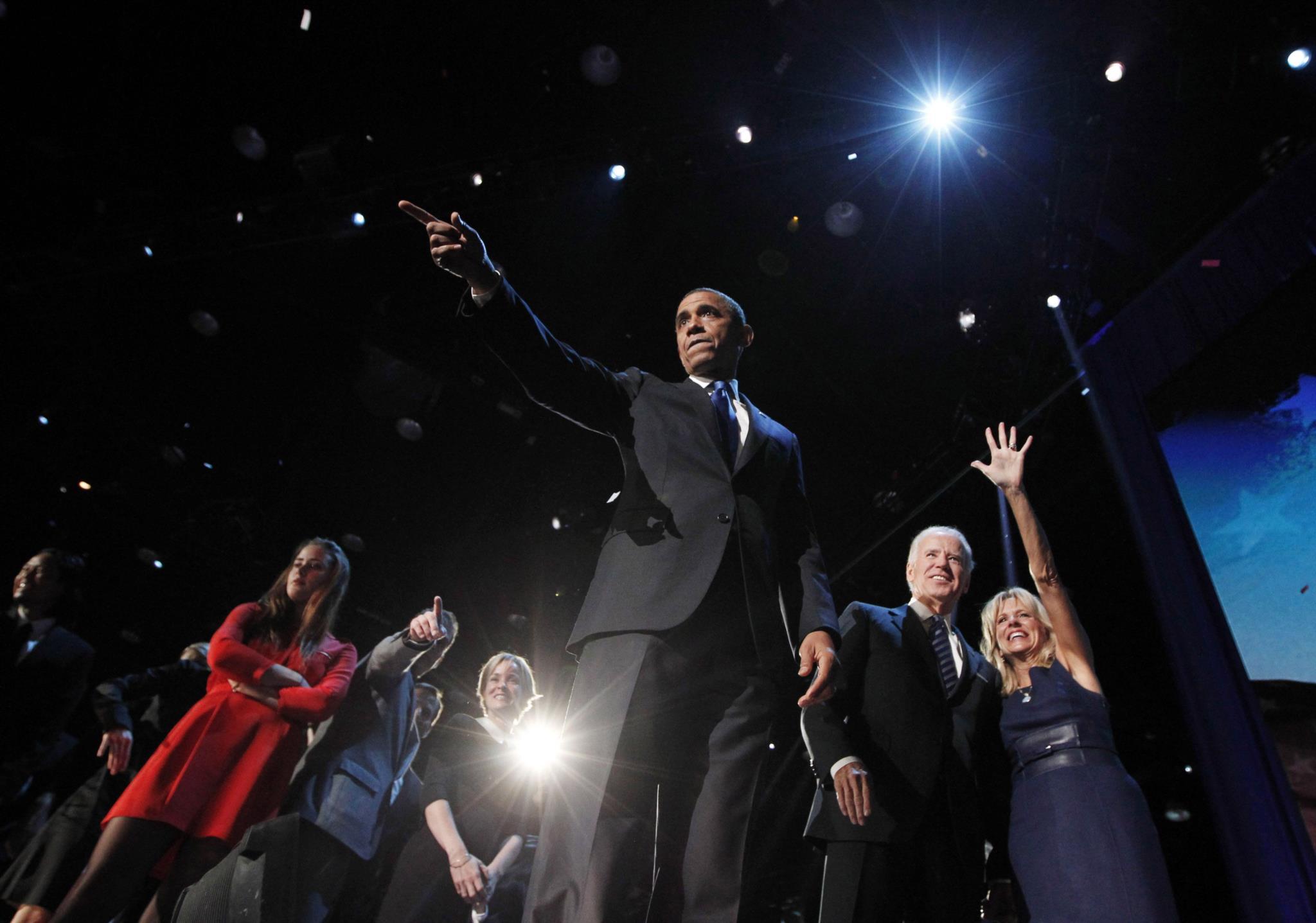 Noite da vitória eleitoral do segundo mandato de Obama em Chicago, 2012
