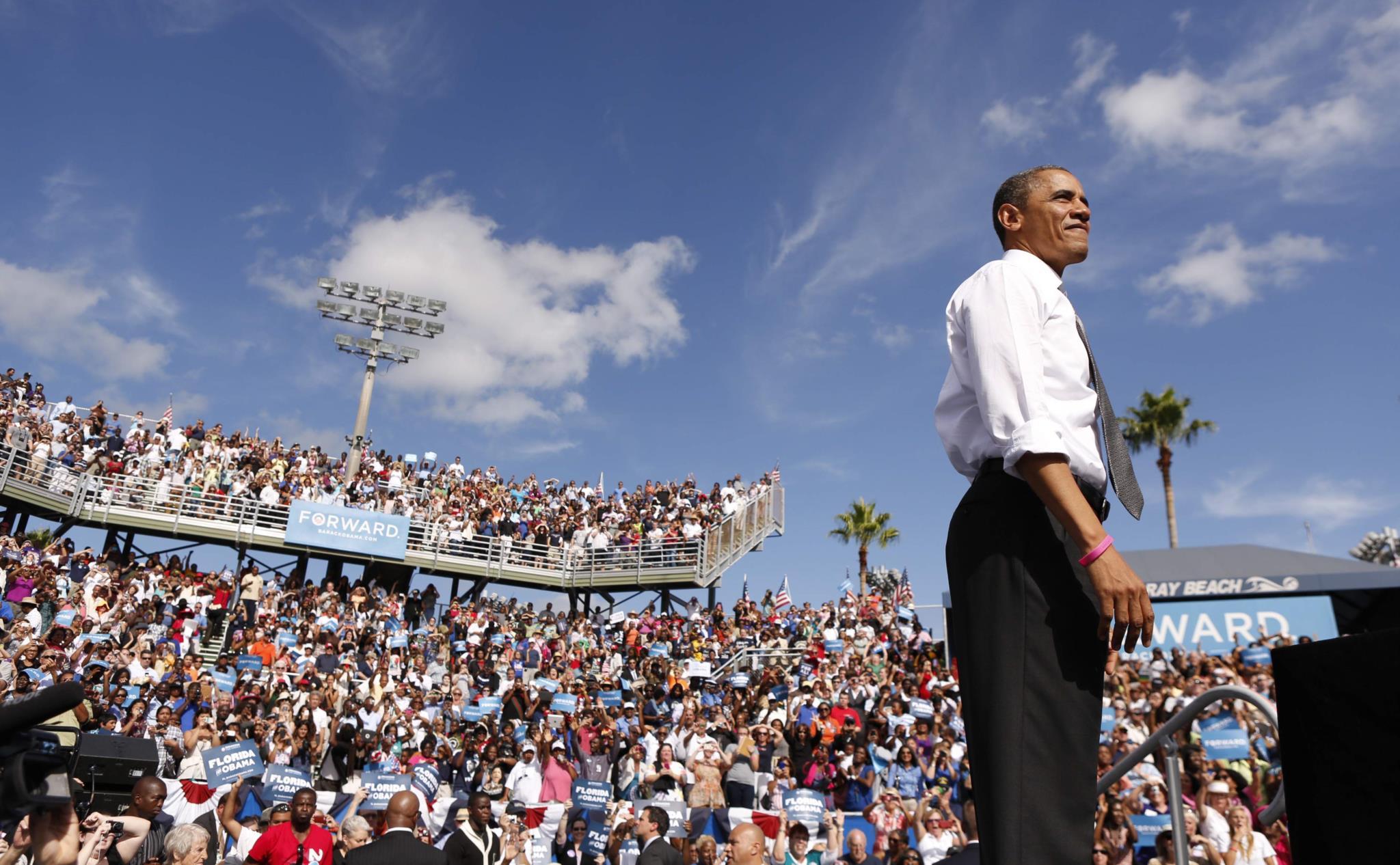 Obama numa campanha eleitoral em Delray Beach, Flórida, 2012