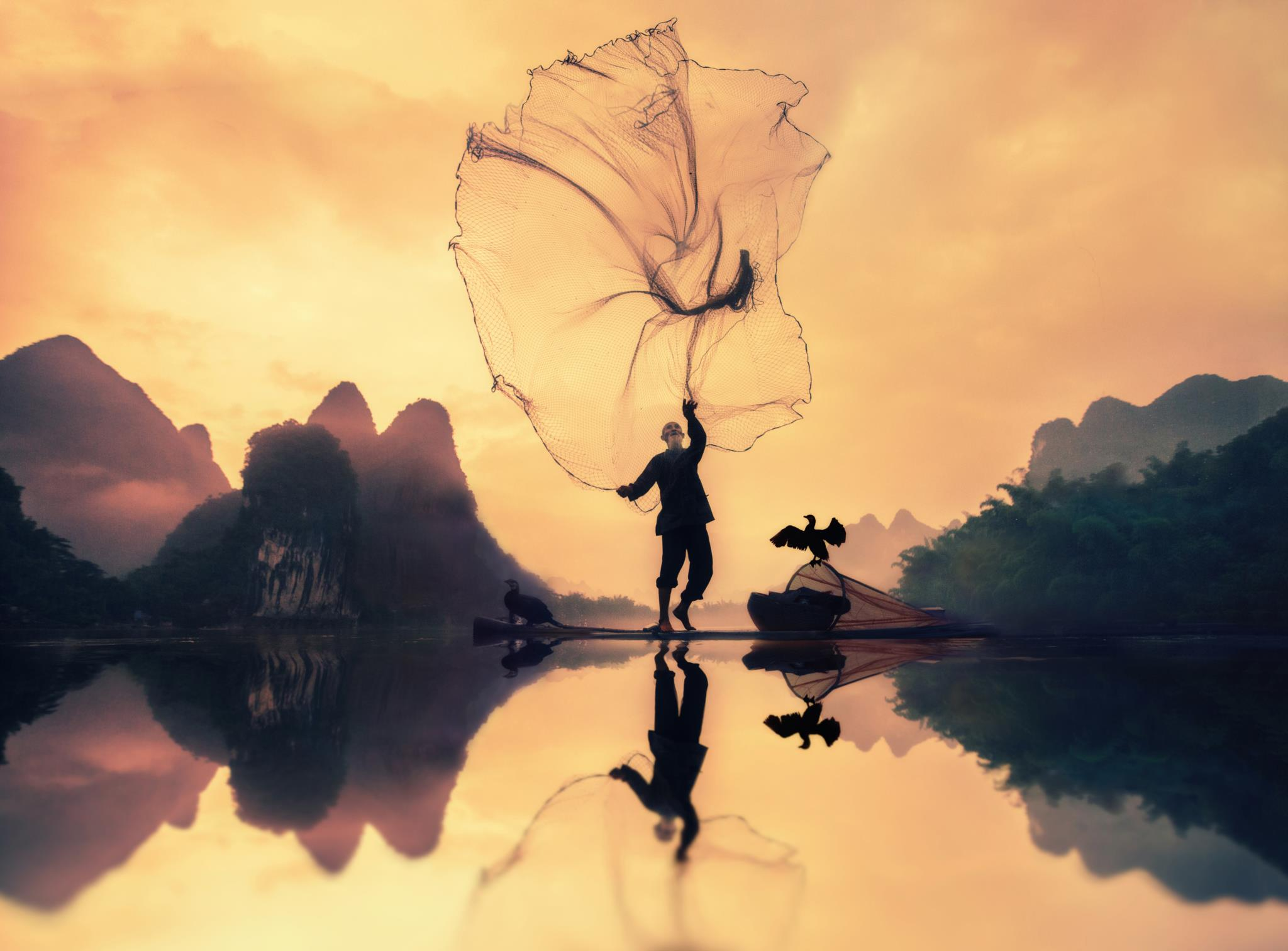 Pescador tradicional na China (1.º prémio - Arábia Saudita)